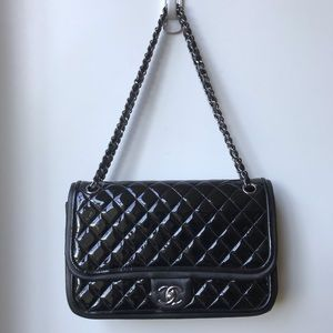 Chanel quilted patent flap bag.